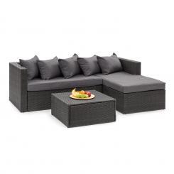 Theia Lounge Set Gartengarnitur Eckcouch Hocker 5 Kissen Polyrattan schwarz / dunkelgrau Schwarz | dunkelgrau