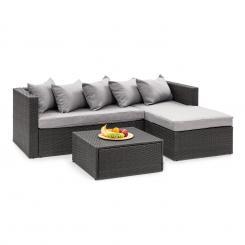 Theia Lounge Set Gartengarnitur Eckcouch Hocker 5 Kissen Polyrattan schwarz / hellgrau Schwarz | Hellgrau