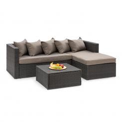 Theia Lounge Set Gartengarnitur Eckcouch Hocker 5 Kissen Polyrattan schwarz / braun Schwarz | Braun