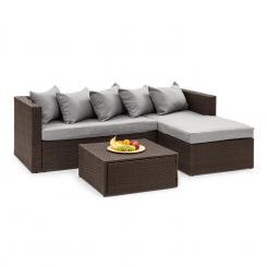 Theia Lounge Set Gartengarnitur Eckcouch Hocker 5 Kissen Polyrattan braun / hellgrau Braun | Hellgrau