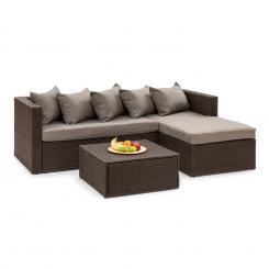 Theia Lounge Set Gartengarnitur Eckcouch Hocker 5 Kissen Polyrattan braun / braun Braun | Braun