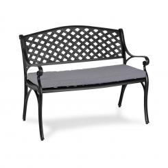 Blumfeldt Pozzilli BL Gartenbank & Sitzkissen Set Aluminiumguss Polyester witterungsbeständig schwarz / grau Schwarz/grau
