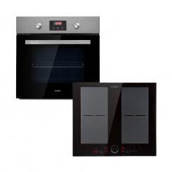 Klarstein Kalahari Delicatessa Einbau-Ofen-Set Induktion 7000W 68Ltr schwarz Edelstahl