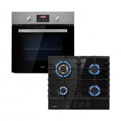 Kalahari Ignito Einbau-Ofen-Set Elektro / Gas 68Ltr schwarz Edelstahl