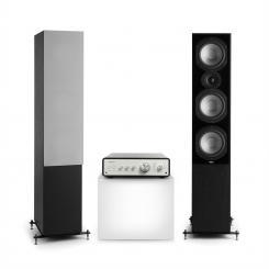 Drive 801 Stereo-Set Digital Stereo-Verstärker + 2 Standlautsprecher BT5.0 Fernbedienung Schwarz / Schwarz / Grau