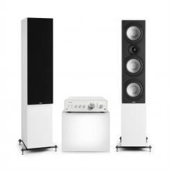 Drive 801 Stereo-Set Digital Stereo-Verstärker + 2 Standlautsprecher BT5.0 Fernbedienung Weiß / Weiß / Schwarz