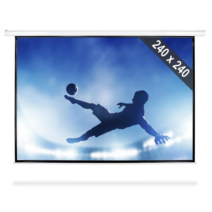 FrontStage Ekran projekcyjny rozwijany, 240 x 240 cm, kino domowe, HDTV, 1:1