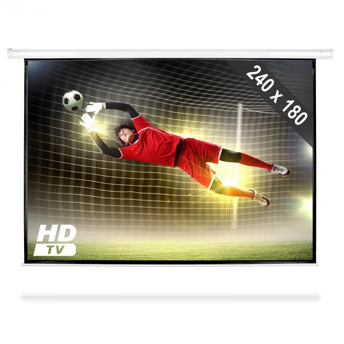 FrontStage Ekran projekcyjny rozwijany, 240 x 180 cm, kino domowe, HDTV, 4:3
