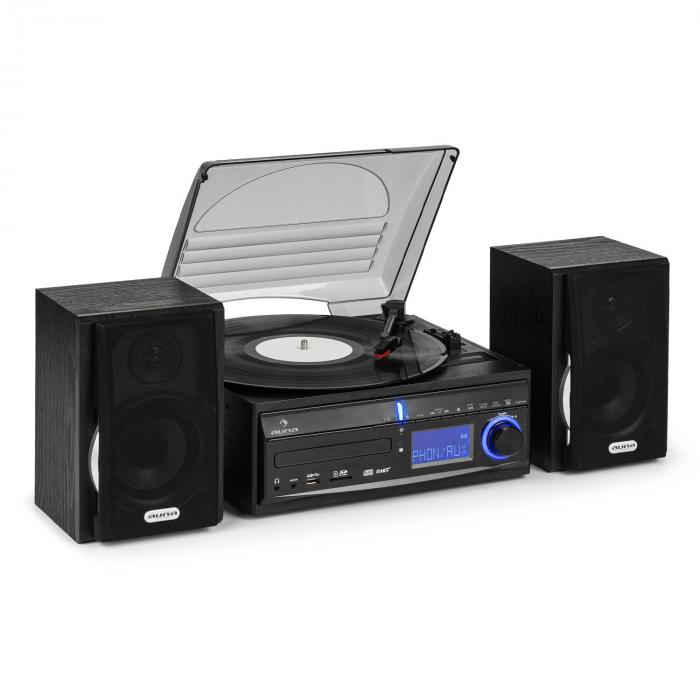 DS-2 Stereoanlage Plattenspieler CD MP3-Recorder USB SD AUX-In UKW/MW Boxen