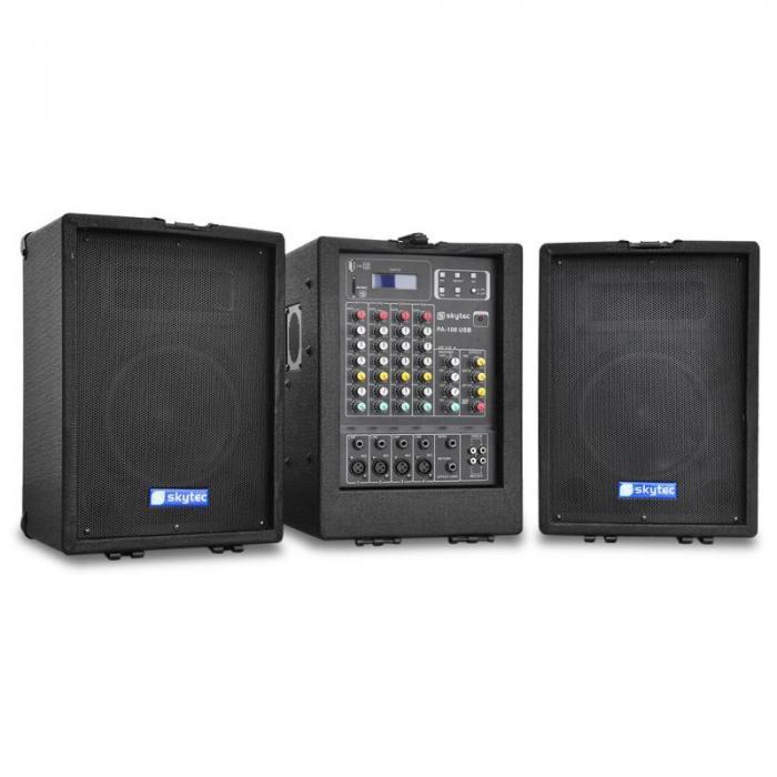 2 x 75 watt rms 2 way speaker stereo mixer portable pa system usb sd. Black Bedroom Furniture Sets. Home Design Ideas