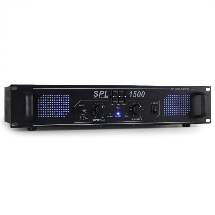 SPL-1500-EQ DJ PA-Verstärker 2-Kanal Endstufe 2 x 750W LED Equalizer