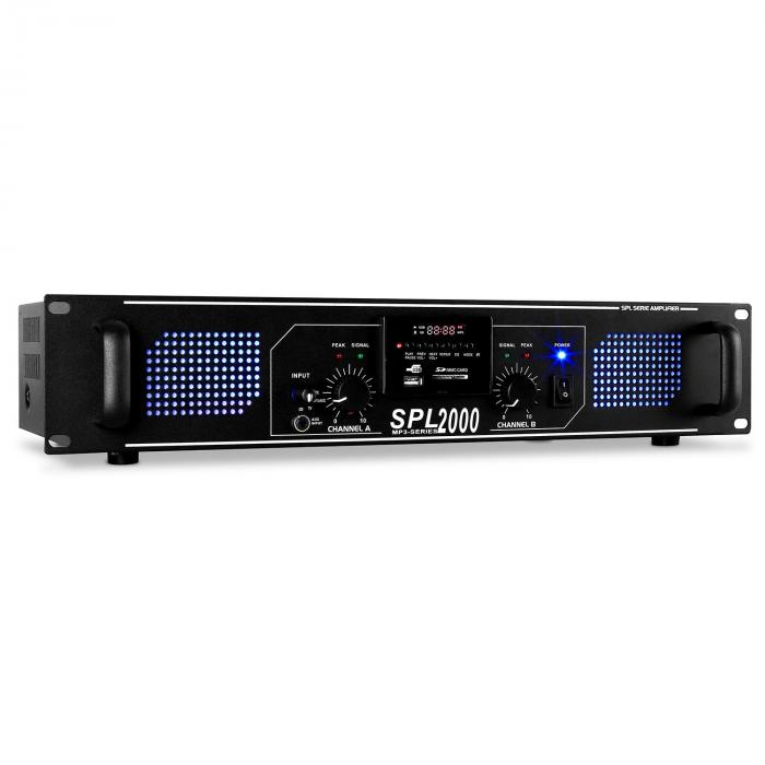 Amplificador HiFi PA Skytec SPL-2000-MP3 LED 2000W USB SD