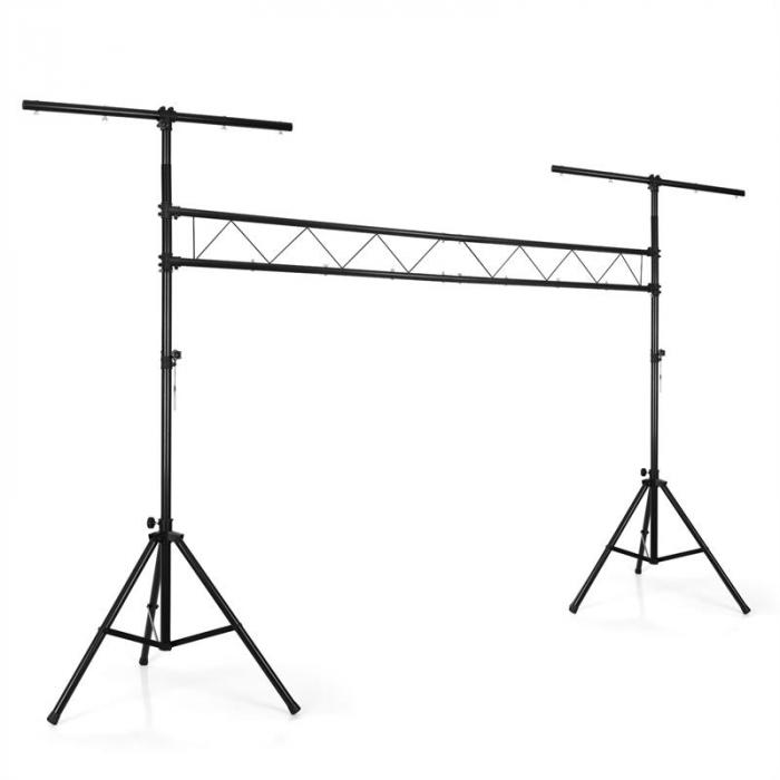 LTS-209ALS Mobile DJ Light Rig Crossbeam Lighting Stand System - Black