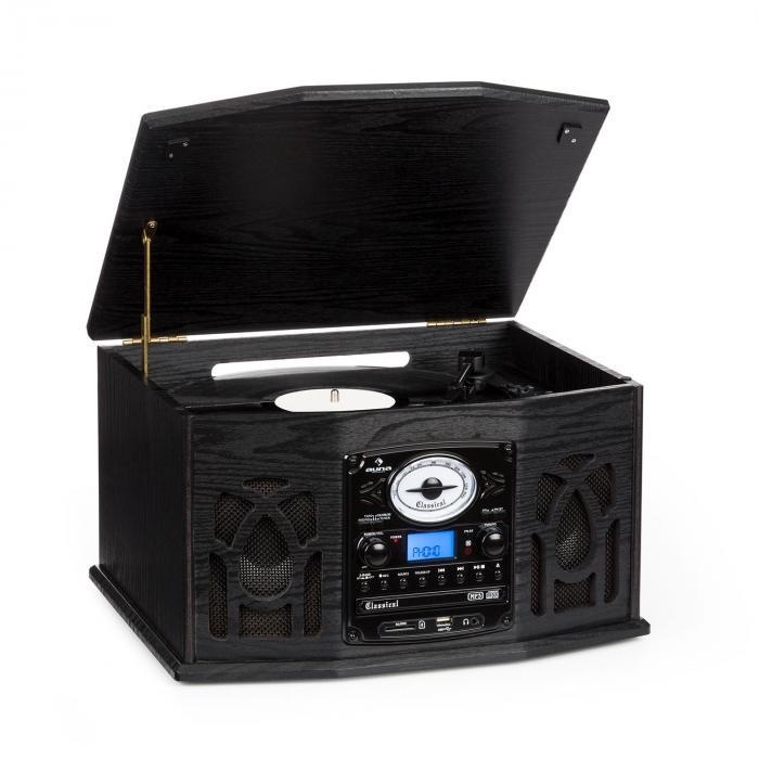 NR-620 Stereot MP3-tallentavalla levysoittimella, puukotelo musta