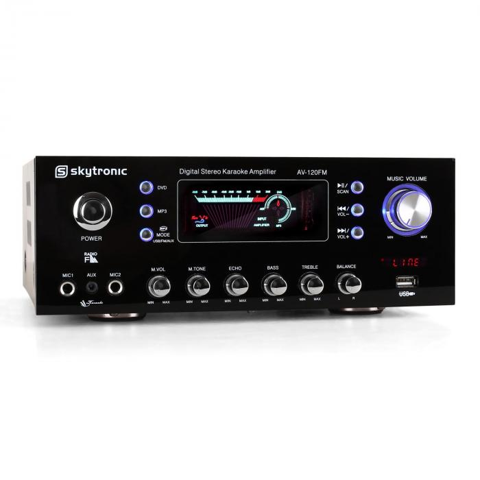 AV-120FM Compact PA Amplifier Hifi Karaoke USB MP3
