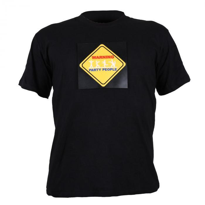 Summary T-shirt LED 3-kolorowy design Warning Party People XL