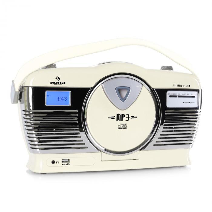 Auna RCD-70 radio retro FM USB CD baterie kolor kremowy