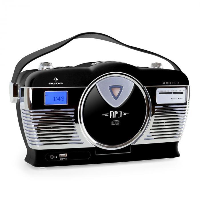 Auna RCD-70, radio retro, UKW, USB, CD, baterie, czarne