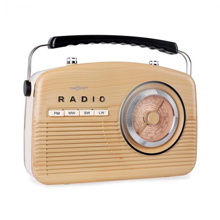 NR-12 Kannettava retroradio FM/AM, vaaleanrusk.