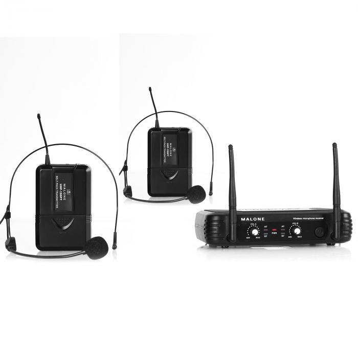 Malone UHF-250 Duo2 2-kanałowy zestaw mikrofonów bezp. UHF
