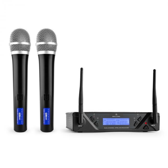 Malone UHF-450 Duo1 2-kanałowy zestaw mikrofonów bezp.UHF