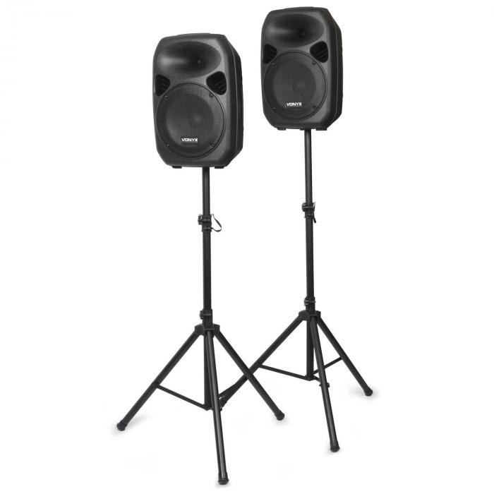 SPS122 PA Speaker Set with Tri-Pod Stands 700W AUX