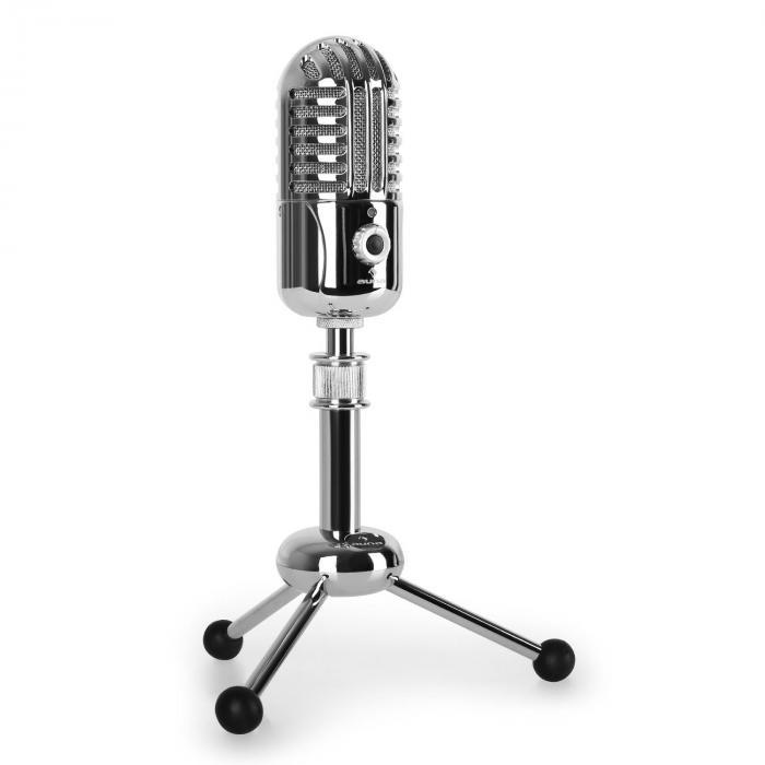 Auna CM280,mikrofon pojemnościowy USB, srebrny,