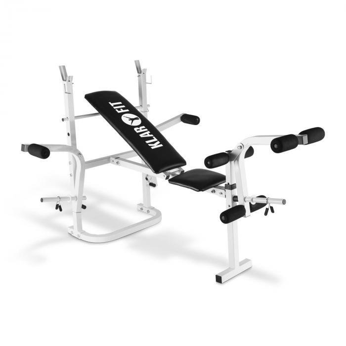 KLARFIT HB3BC-W ławeczka pod sztangę ze stojakiem bicepsy mięśnie nóg kolor biały