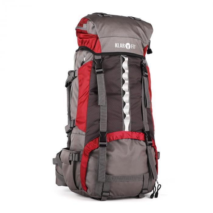 KLARFIT Heyerdahl plecak trekkingowy 70L system X-Transition ładowany od góry czerwony