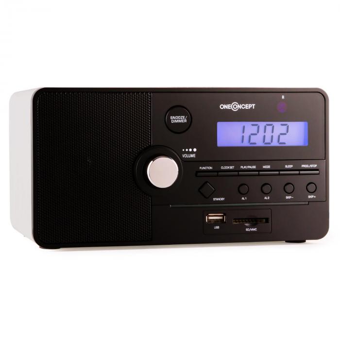 Luzern Alarm Clock Radio SD USB - White
