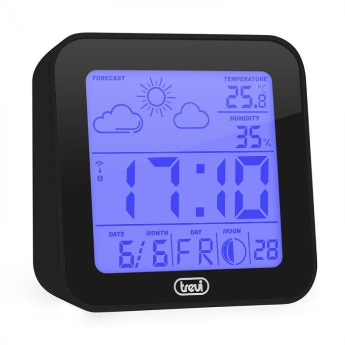 ME-3105 Wecker Wetterstation Thermometer Hygrometer Mondphasen schwarz