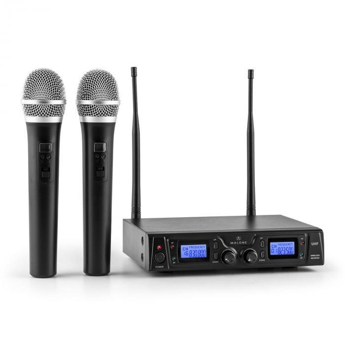 Malone Duett Pro V1 2-kanałowy bezprzewodowy zestaw mikrofonowy UHF zasięg 50m