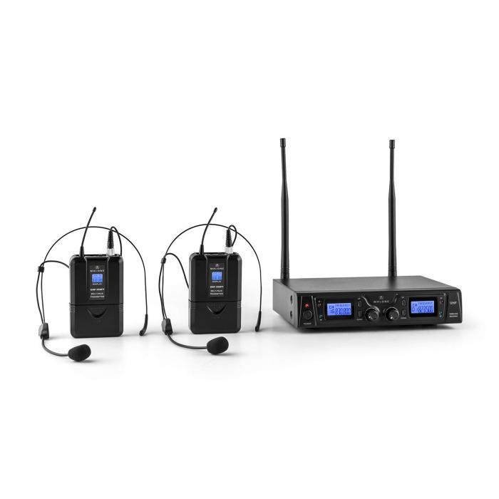 Malone Duett Pro V2 2-kanałowy bezprzewodowy zestaw mikrofonowy UHF zasięg 50m
