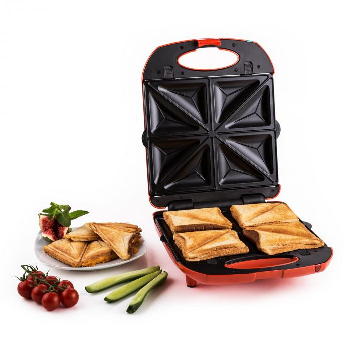 Trinity griglia per sandwich 3 in 1 XXL 1300 W rossa