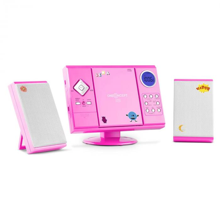 V-12 Stereoanlage MP3-CD-Player USB SD AUX Pink Sticker