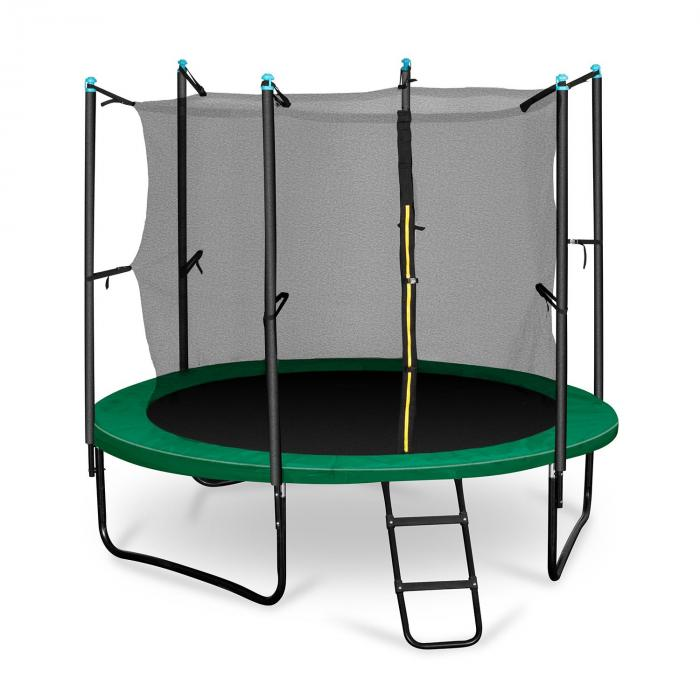 Rocketstart trampoline 250cm veiligheidsnet binnen brede ladder groen
