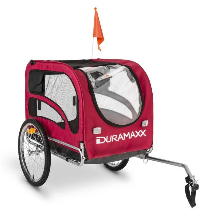 DURAMAXX King Rex Przyczepka rowerowa do przewozu psów 250 l 40k g Rura stalowaczarno-czerwony