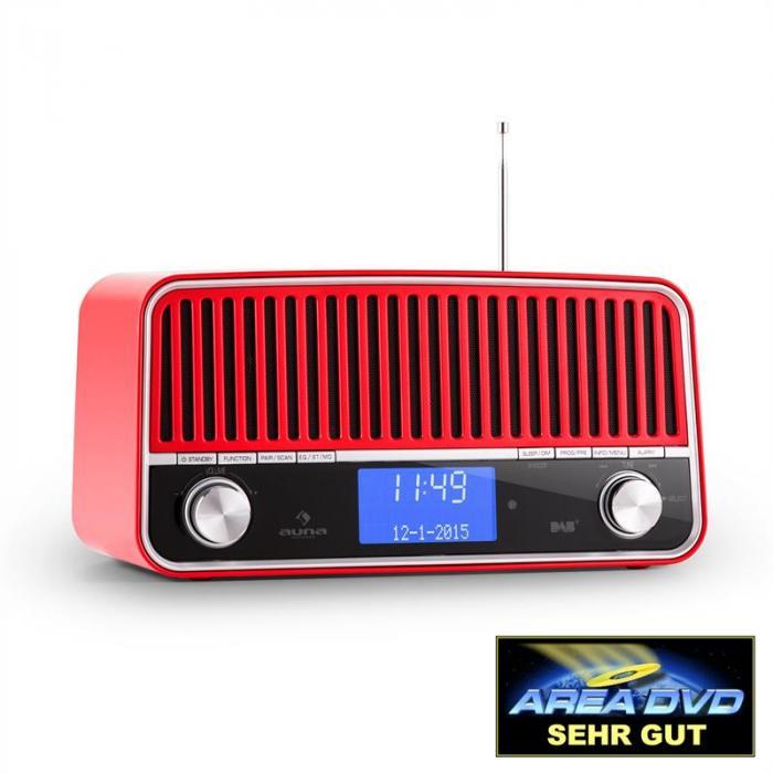 Auna Nizza DAB+ Retro-Radio Bluetooth UKW AUX 2.1 Subwoofer rot KC10-Nizza RD