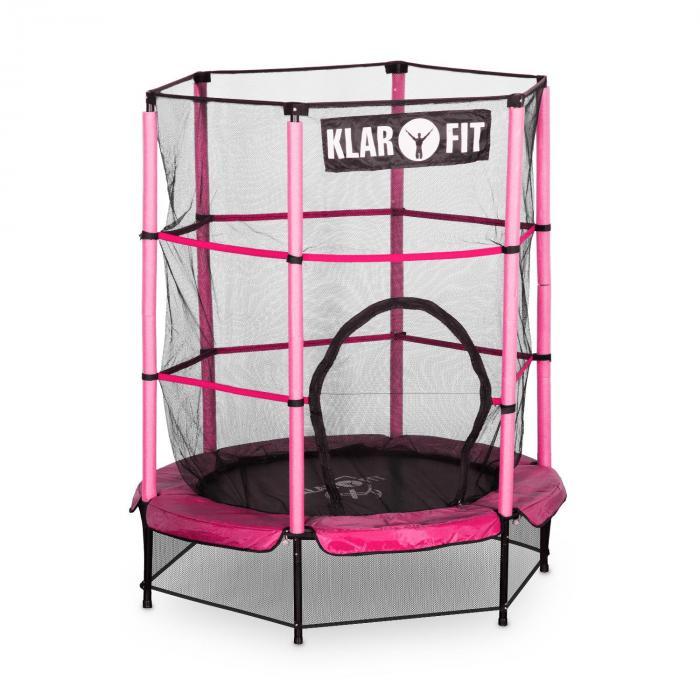 Rocketkid trampoliini 140 cm turvaverkko sisäpuolella, bungeejousitus pinkki