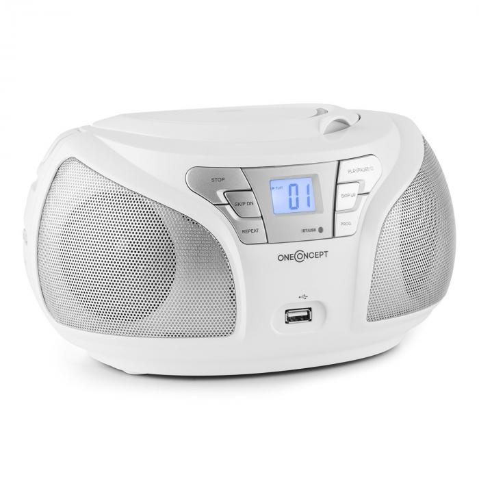 Groovie WH Boombox Bluetooth CD UKW AUX MP3 weiß