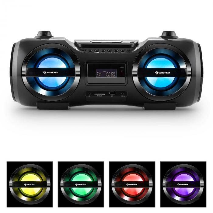 Auna Soundblaster M Boombox Bluetooth 3.0 CD/MP3/USB FM LED 50W max.