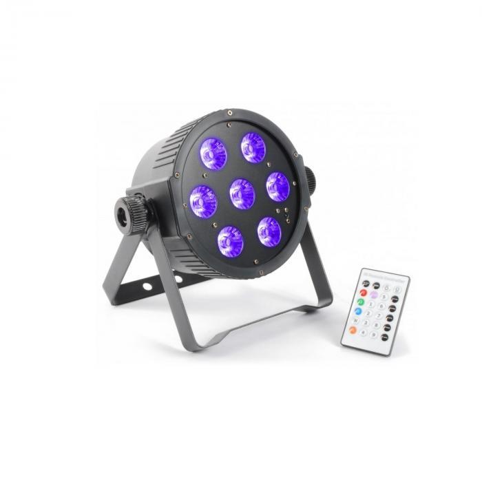 FlatPAR 7 x 18 W 6in1 hexcolor RGBAWUV-LED DMX IR sis. kaukosäätimen