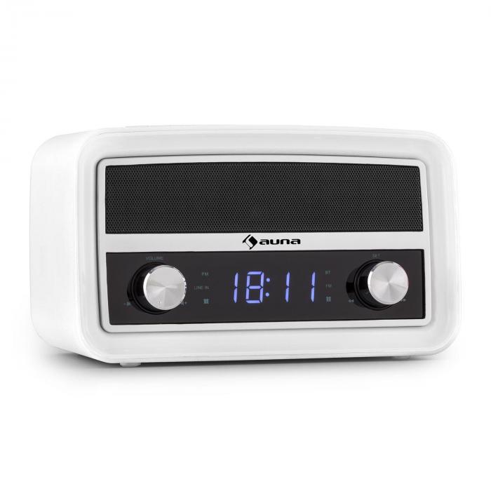 Caprice WH Retro Radio Alarm Clock Bluetooth FM USB AUX White