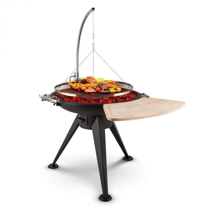 Delion varteen kiinnitettävä vapaasti heiluva grilliritilä ulkopata pitkät jalat vaijerikiinnitys ruostumatonta terästä Ø80cm