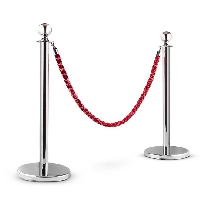 Silver Gate personledningssystem 2 avspärrningsposter 1 rep silver/röd