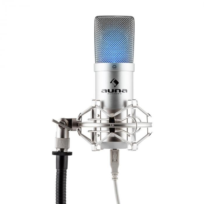 Auna Pro MIC-900S-LED USB Mikrofon pojemnościowysrebrny studyjny LED