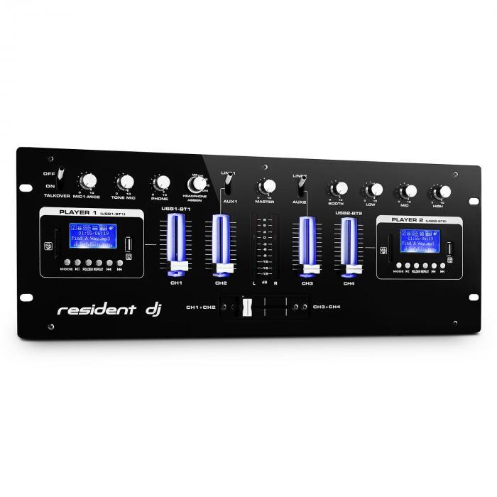 Resident DJ DJ405USB 4-kanałowy mikser DJ 2 x Bluetooth USB SD AUX funkcja nagrywania