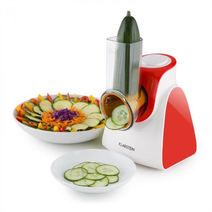 Carrot & Rock salladsskärare grönsaksmandolin rivjärn 150W 5 delar röd