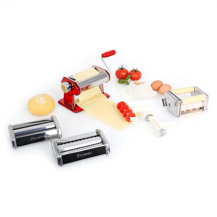 Klarstein Siena Rossa Pasta Maker Maszynka do makaronu 3 nasadki Stal nierdzewna czerwona