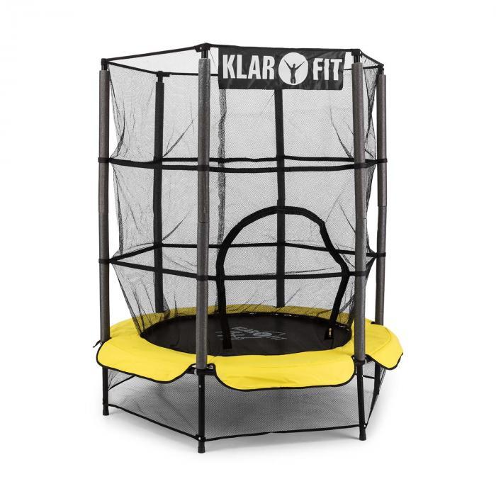 Rocketkid 3 trampoliini 140 cm turvaverkko benjiköysijousitus keltainen